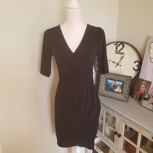 Wrap front little black dress